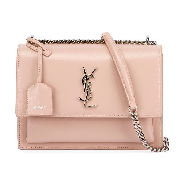 Saint Laurent Sunset Medium Monogram YSL Crossbody Bag in light pink
