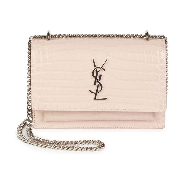 Saint Laurent sunset croc embossed wallet on a chain in marblepink - Glossy croco-embossed chain wallet with signature...
