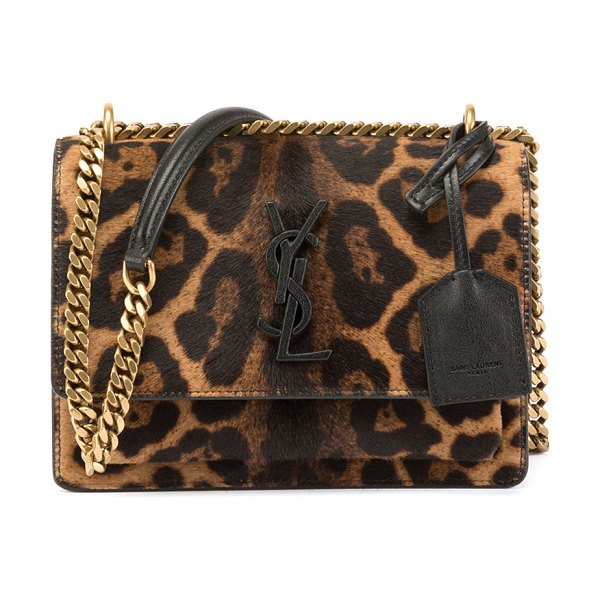 Saint Laurent Sunset Small Calf Hair Crossbody Bag in leopard - Saint Laurent small crossbody bag in leopard-print dyed...