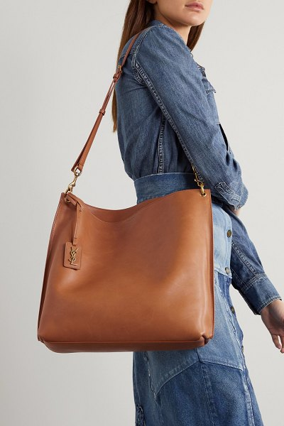 Saint Laurent tag leather tote in tan