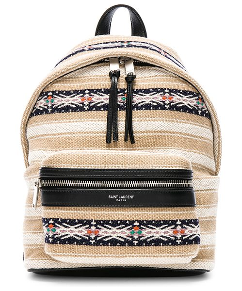 "Saint Laurent Toy Canvas & Leather Ikat Strap City Backpack in neutrals,stripes - ""Berber cloth with canvas lining and brushed silver-tone..."