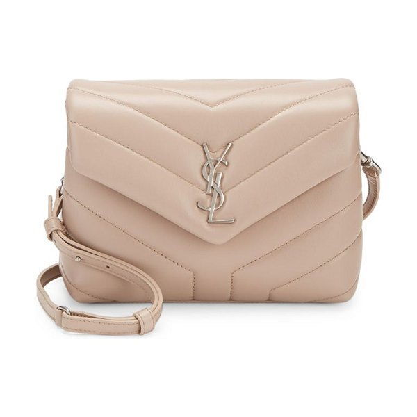 Saint Laurent toy loulou matelassé leather crossbody bag in natural