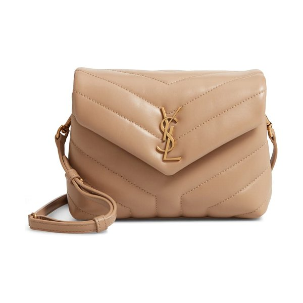 Saint Laurent toy loulou matelasse leather crossbody bag in beige