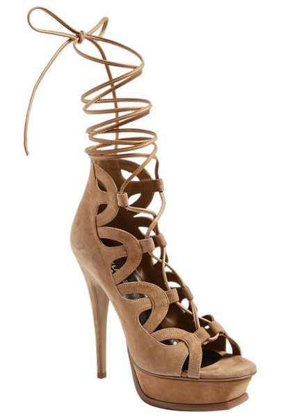 Saint Laurent 'tribute' lace-up platform sandal in beige suede - A modern gladiator version of Saint Laurent's iconic...