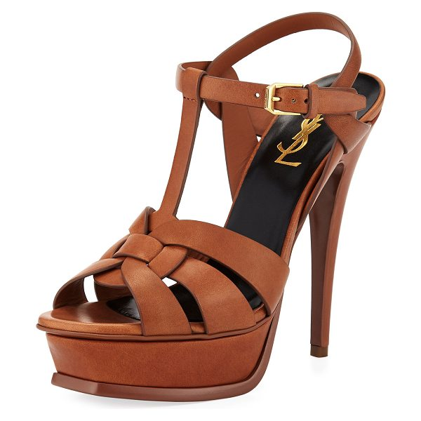 "Saint Laurent Tribute Leather 105mm Platform Sandals in tan - Saint Laurent leather sandal. 4.3"" covered stiletto..."