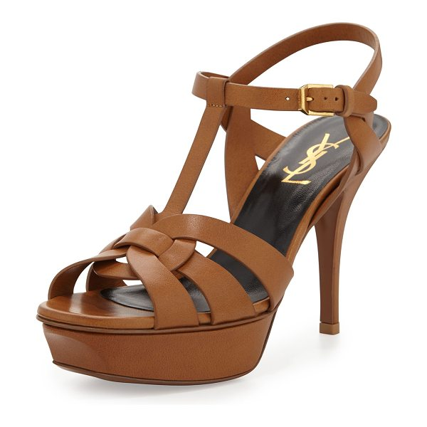 "Saint Laurent Tribute Leather 75mm Sandal in bronze - Saint Laurent matte calfskin sandal. 4.1"" covered heel;..."