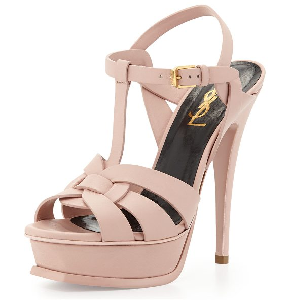 "Saint Laurent Tribute Leather Platform Sandal in pale rose - Saint Laurent matte leather Tribute sandal. 5 1/2""..."