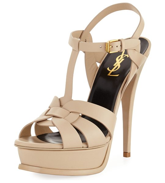 "Saint Laurent Tribute Leather Platform Sandal in poudre - Saint Laurent matte leather Tribute sandal. 5 1/2""..."