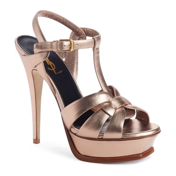 Saint Laurent tribute metallic platform sandal in metallic