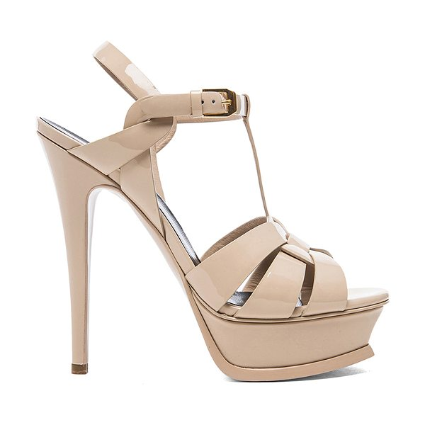 SAINT LAURENT Tribute Patent Leather Platform Sandals - Patent calfskin leather upper with leather sole. Made in...