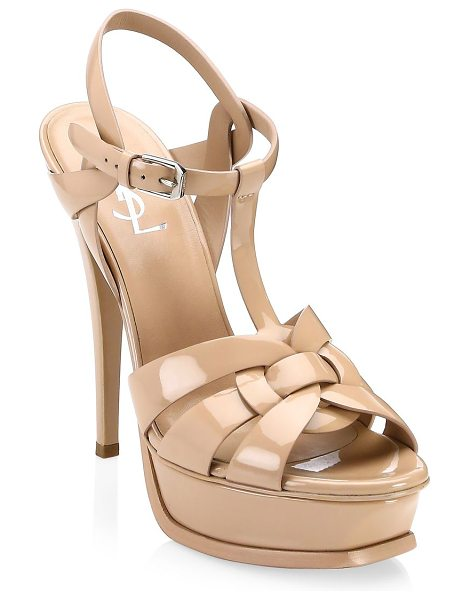 SAINT LAURENT tribute patent leather platform sandals in nude rose - Iconic platform silhouette with woven patent leather...