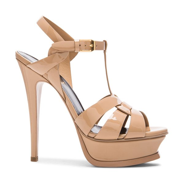 Saint Laurent Tribute Patent Leather Platform Sandals in darker nude - Patent calfskin leather upper with leather sole. Made in...