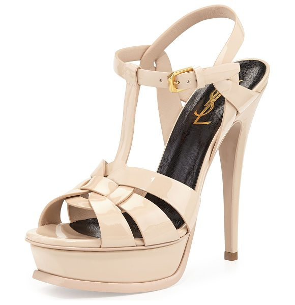 SAINT LAURENT Tribute Patent Platform Sandal - Saint Laurent patent leather Tribute sandal; golden...