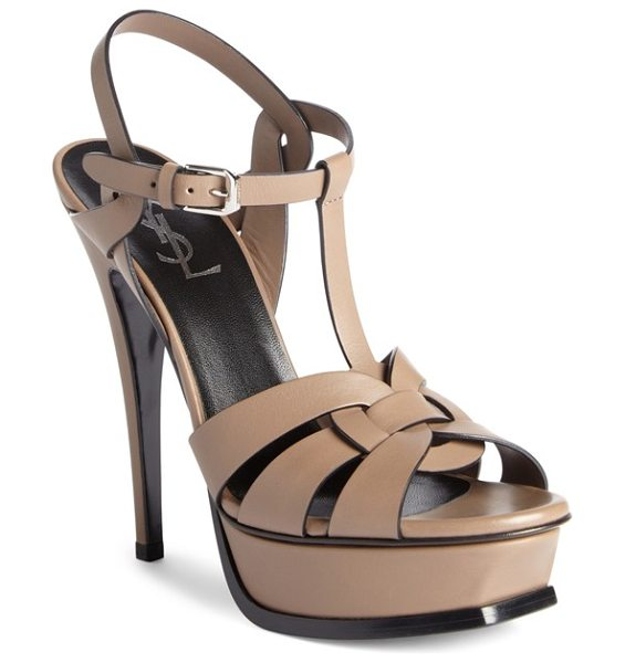 Saint Laurent 'tribute' sandal in beige leather - Interlocking straps of leather form a breezy,...