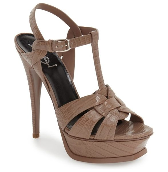 Saint Laurent 'tribute' sandal in beige lizard - Subtle croc embossing puts an exotic twist on an...