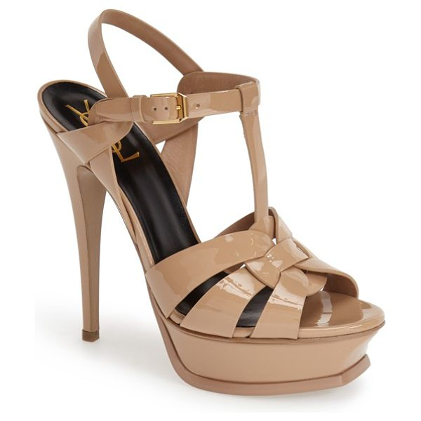 Saint Laurent tribute t-strap platform sandal in dark nude patent - An icon since it first debuted on the runway, Saint...