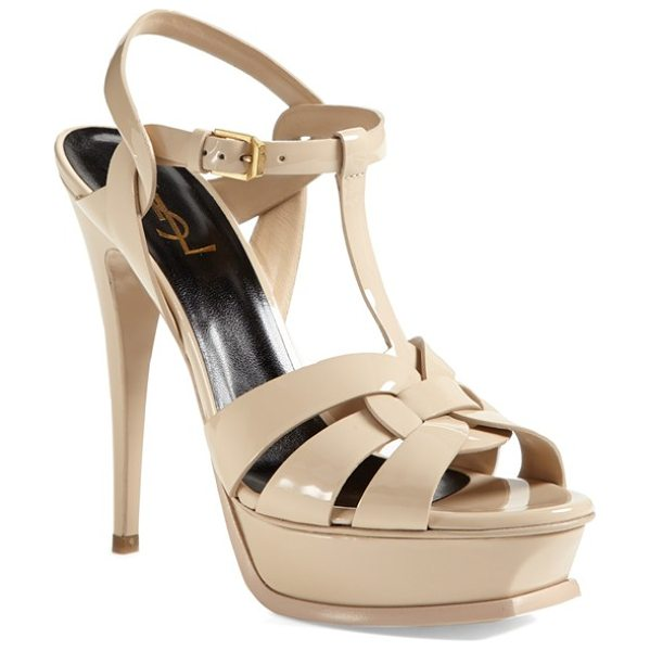 Saint Laurent tribute t-strap platform sandal in beige