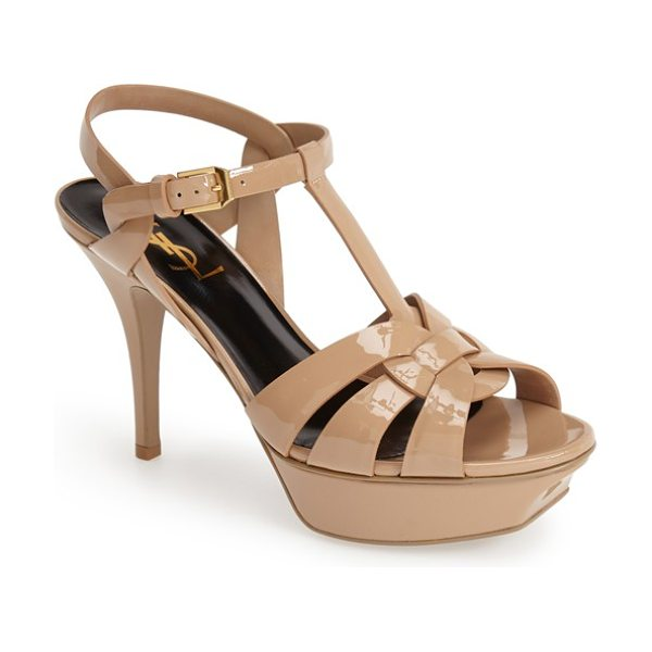 Saint Laurent 'tribute' t-strap sandal in dark nude patent - Liquid-shine patent leather details an iconic T-strap...