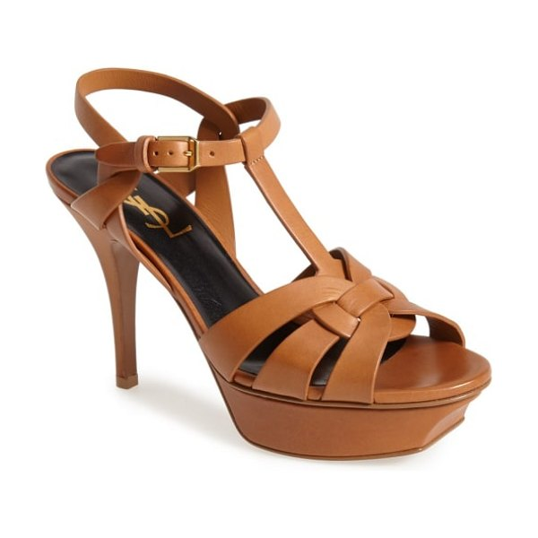 Saint Laurent tribute t-strap sandal in brown