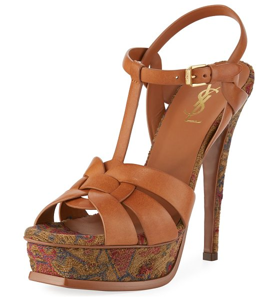 Saint Laurent Tribute Tapestry 135mm Platform Sandal in brown - Saint Laurent leather sandal with Marrakech-print...