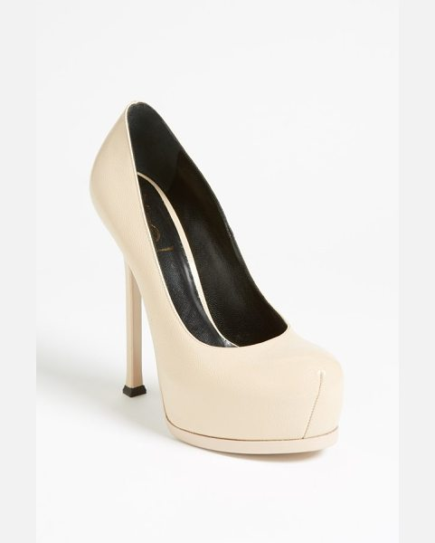 SAINT LAURENT tribute two pump - A lofty covered platform and heel ground a stunning pump...