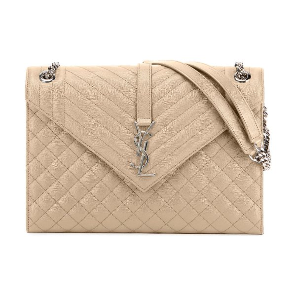 SAINT LAURENT Monogram YSL V-Flap Large Tri-Quilt Envelope Chain Shoulder Bag - Miroir Hardware - Saint Laurent shoulder bag in chevron- and...