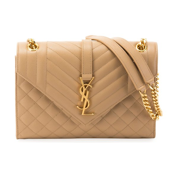 ea814d3ca9f Saint Laurent V Flap Monogram YSL Medium Envelope Chain Shoulder Bag -  Golden Hardware in beige