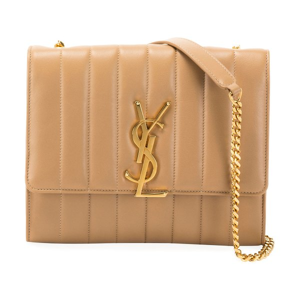 Saint Laurent Vicky Monogram YSL North/South Quilted Leather Wallet on Chain in light brown