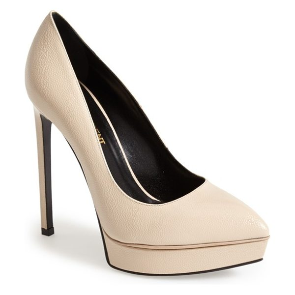 Saint Laurent janis pointy toe platform pump in poudre - Lightly textured, glazed leather defines the alluring...