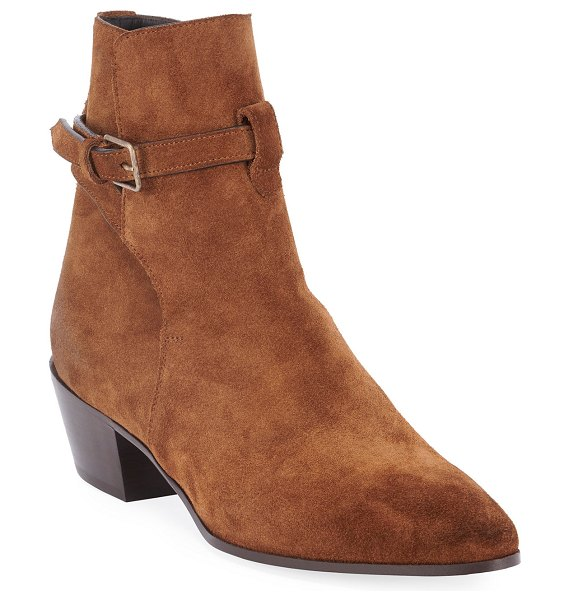 Saint Laurent Wyatt Suede Ankle Booties in brown