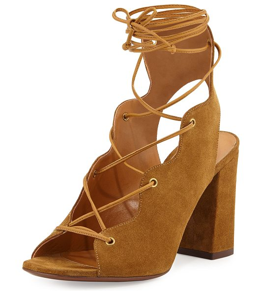 "Saint Laurent Babies Suede Lace-Up Sandal in tan - Saint Laurent suede sandal. 3.5"" covered block heel...."