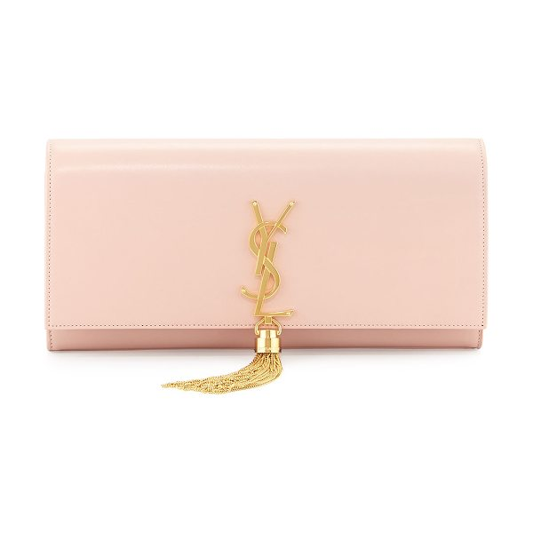 Saint Laurent Monogram calfskin clutch bag in pale blush - Saint Laurent glossy calfskin clutch bag. Flap top with...