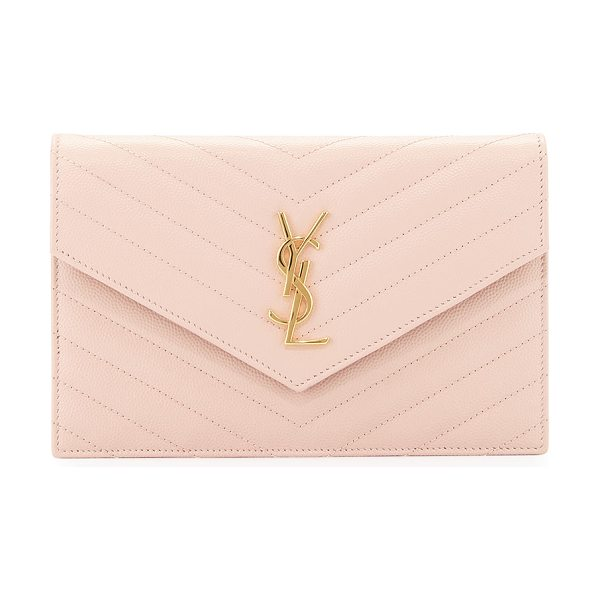 Saint Laurent Monogram leather small wallet-on-a-chain bag in pale pink - Saint Laurent chevron quilted calfskin wallet-on-chain....
