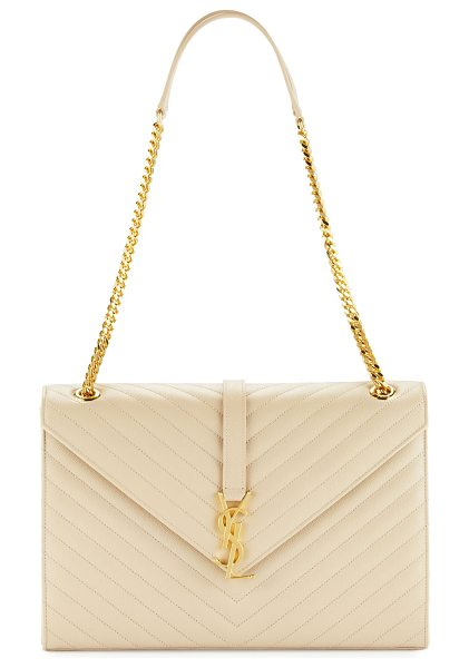 Saint Laurent Monogram matelasse shoulder bag in beige - Saint Laurent grained matelasse calf leather shoulder...