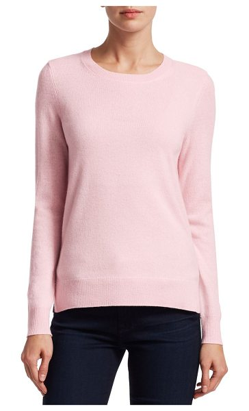 Saks Fifth Avenue collection cashmere roundneck sweater in palepeony - EXCLUSIVELY OURS. Cozy sweater knitted from sumptuous...