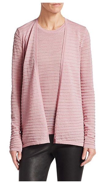 Saks Fifth Avenue collection ribbed merino lurex cardigan in pink rose