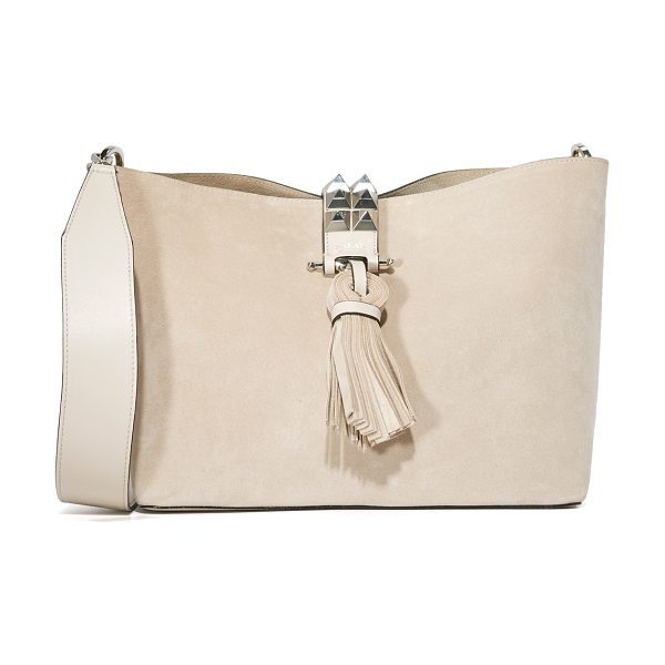 Salar bonnie bag in stone - Rich suede composes this slouchy Salar shoulder bag....