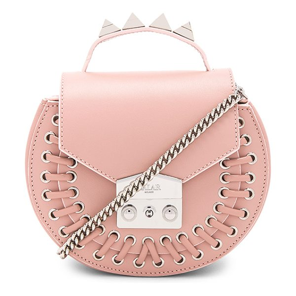 "SALAR Claire Pocket Bag in blush - ""Leather exterior with raw leather lining. Flap top with..."