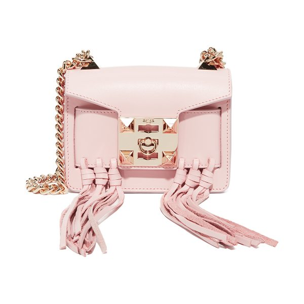 Salar gaia knots bag in soft pink - Pyramid studs and shaggy fringe tassels add edge to this...