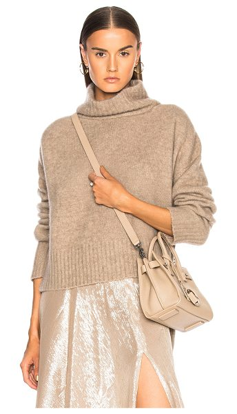 Sally Lapointe Cashmere Hi Lo Sweater in brown - 79% washed silk 21% cashmere.  Made in USA.  Dry clean...