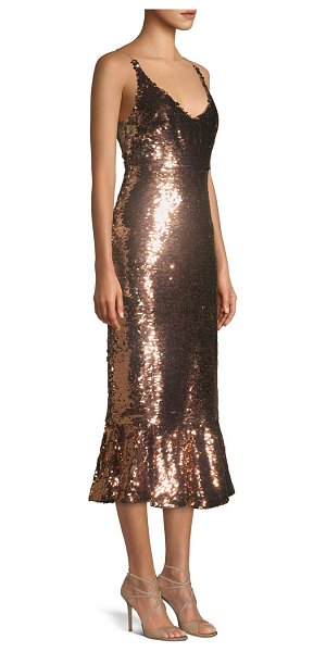Saloni aidan sequined dress in bronze - Fluted hems and a plunging neckline finished with...