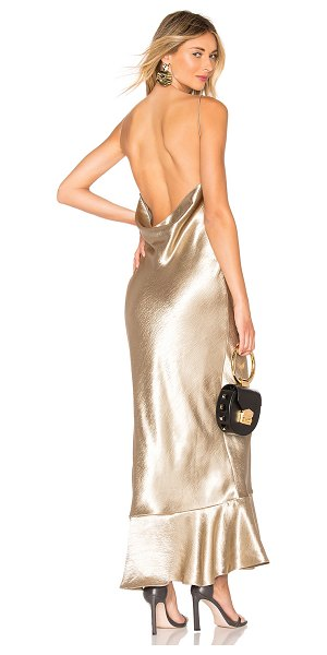 Saloni Stella Dress in metallic gold - Poly blend. Dry clean only. Partially lined. Draped...
