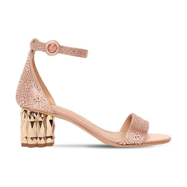 Salvatore Ferragamo 55mm azalea embellished satin sandals in pink
