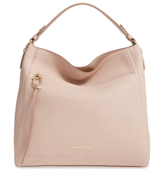 SALVATORE FERRAGAMO calfskin leather hobo - Clean lines underscore the elegant style of a spacious...