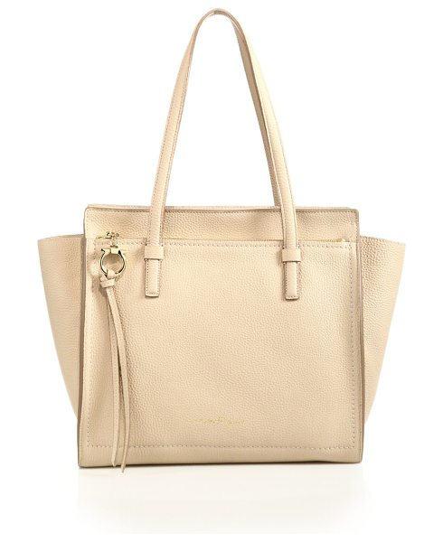 SALVATORE FERRAGAMO amy medium convertible leather tote in beige - Pebbled leather tote with wings that can be tucked...