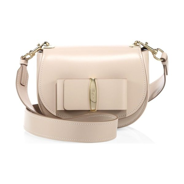 Salvatore Ferragamo anna leather saddle bag in new bisque - Polished, smooth leather saddle bag with large flat bow....