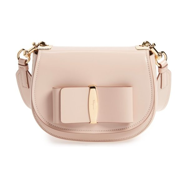 SALVATORE FERRAGAMO vara leather crossbody bag in new bisque - Polished logo hardware anchors a signature bow on a...