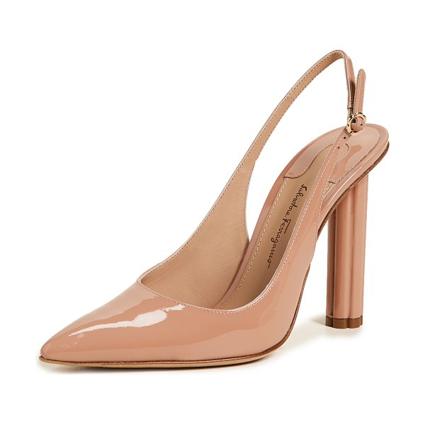 SALVATORE FERRAGAMO buti 105 slingback pumps - Leather: Calfskin Patent Leather Slingback strap Chunky...
