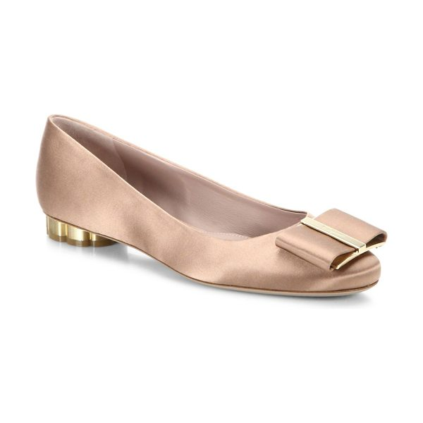Salvatore Ferragamo capua tied bow flats in natural - Tied bow and shiny flower heel adorn these pumps. Fabric...