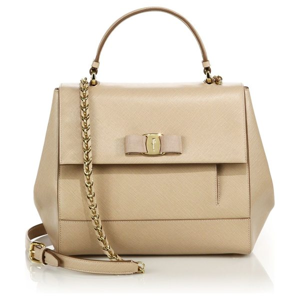 Salvatore Ferragamo carrie saffiano leather top-handle satchel in new bisque - Shapely leather satchel with sleek chain strap. Top...
